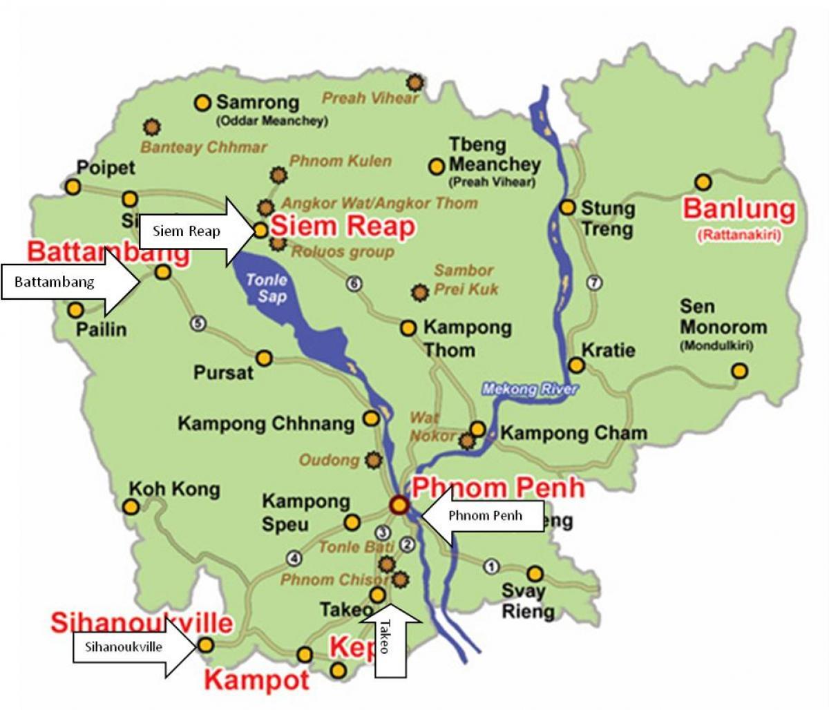 Kambodza Reky Mapa Mapa Kambodzi River Jizni Vychodni Asie Asie